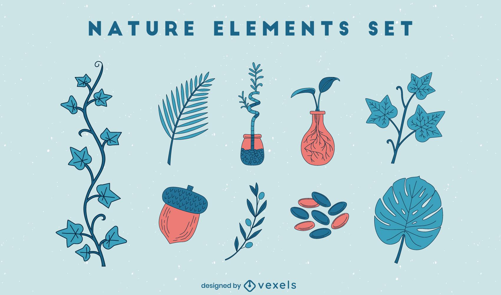 Conjunto de trazos de color de elementos de la naturaleza