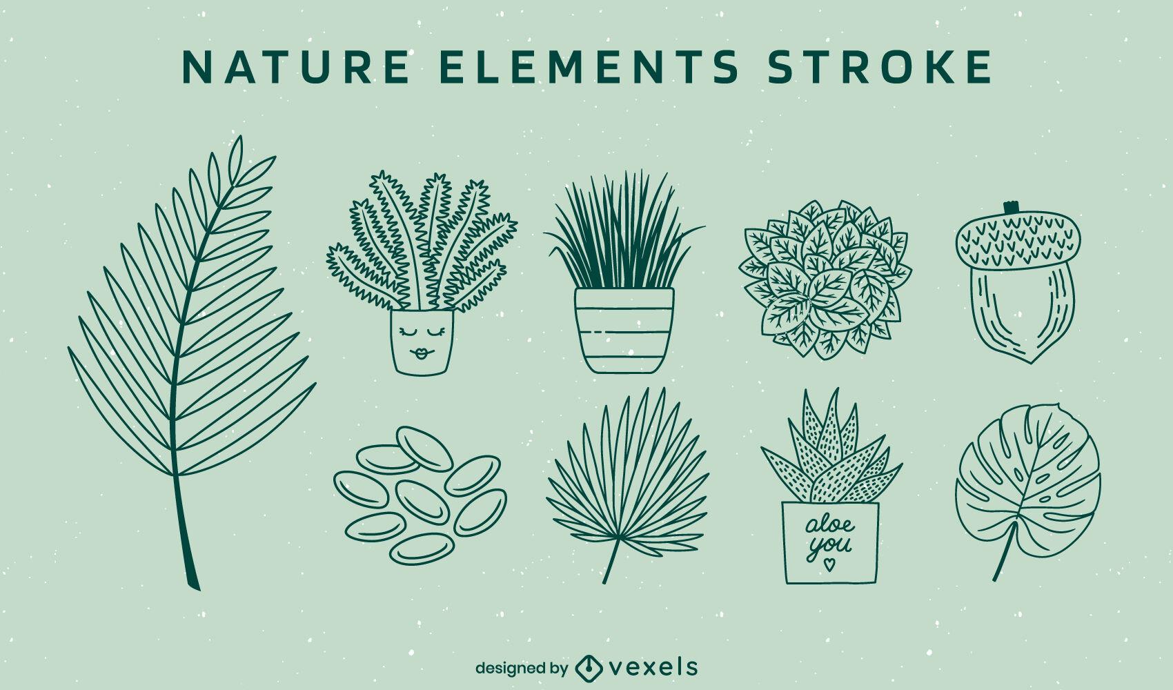 Conjunto de trazos de elementos y plantas de la naturaleza.