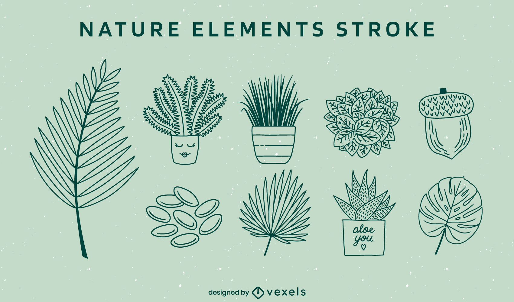 Nature plants and elements stroke set