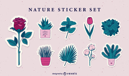Nature elements color stroke stickers set