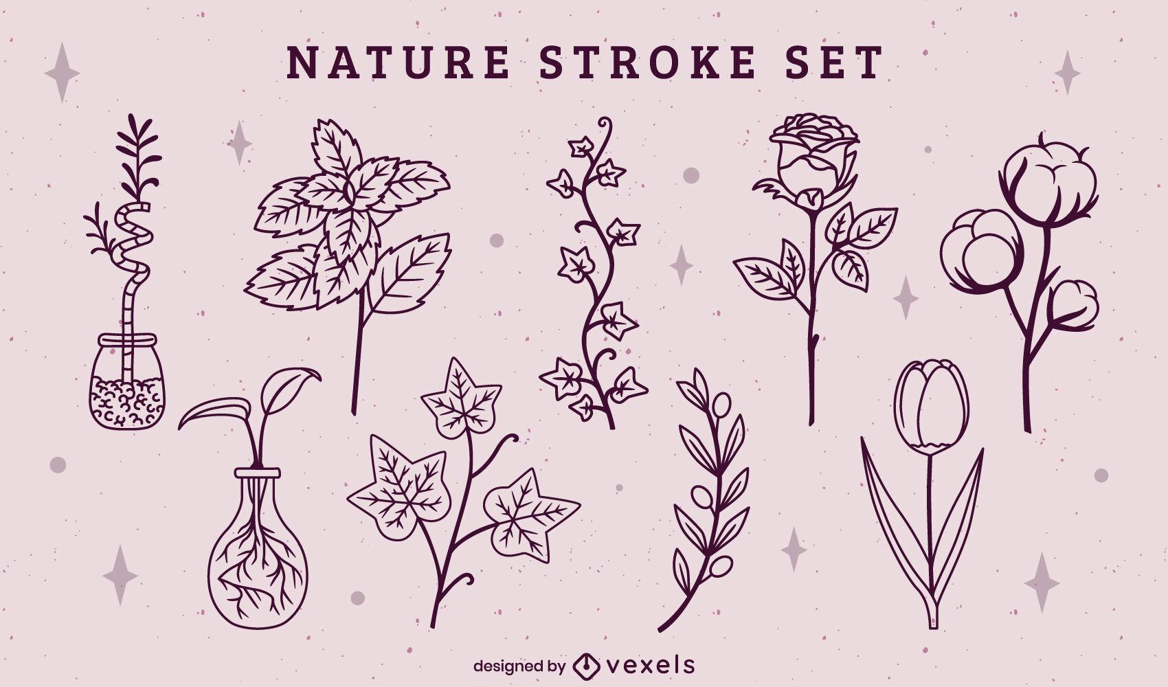 Nature stroke elements set