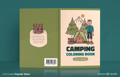Children camping coloring book cover design