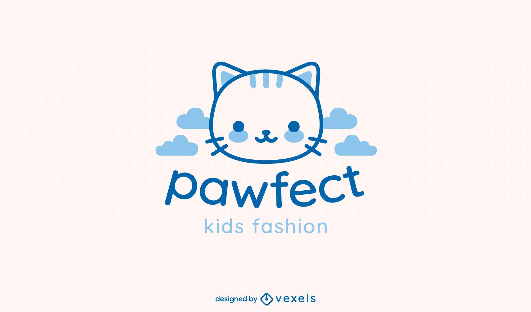 Cute cat filled stroke logo