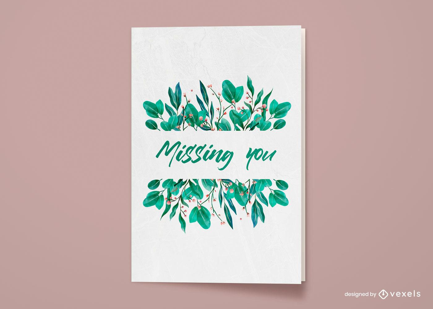 Projeto de cartão de felicitações de plantas em aquarela
