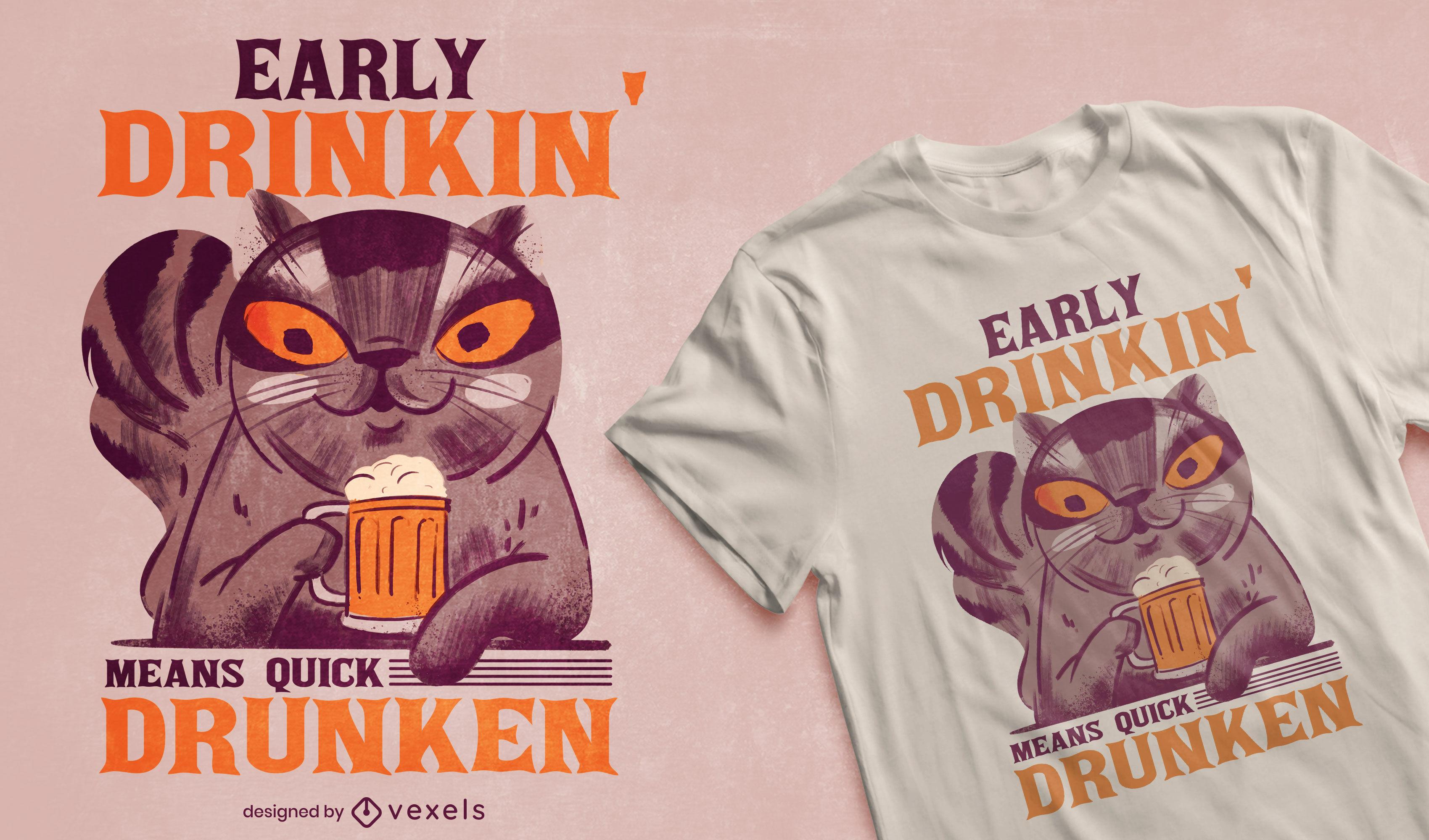 Diseño de camiseta de gato bebiendo cerveza.