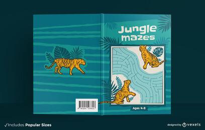 Jungle maze tiger book cover design