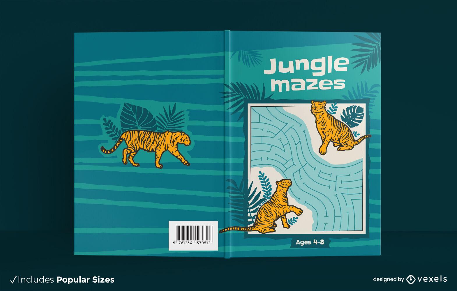 Diseño de portada de libro de tigre de laberinto de selva