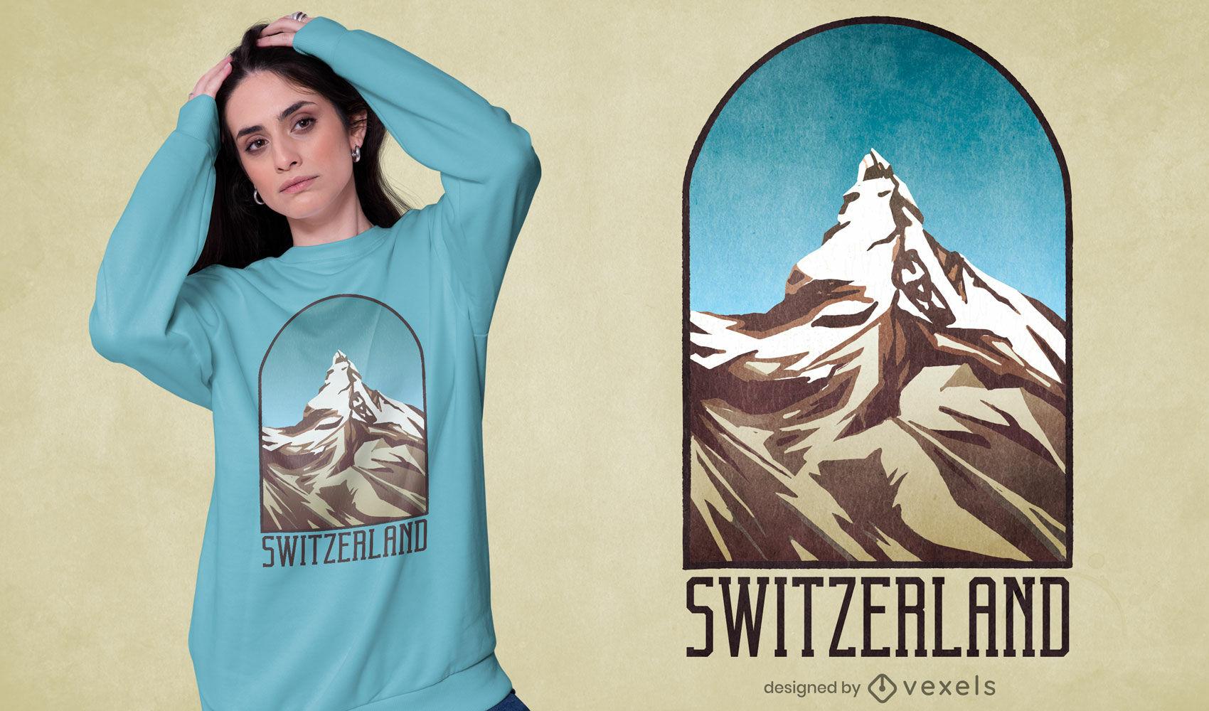 Schweiz Berg strukturiertes T-Shirt Design
