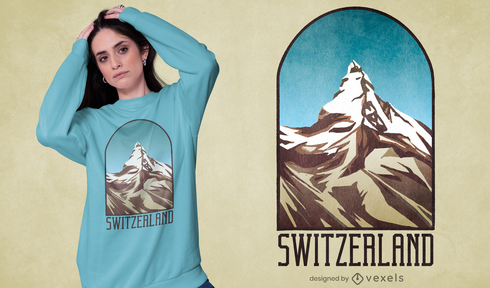 Switzerland mountain textured t-shirt design