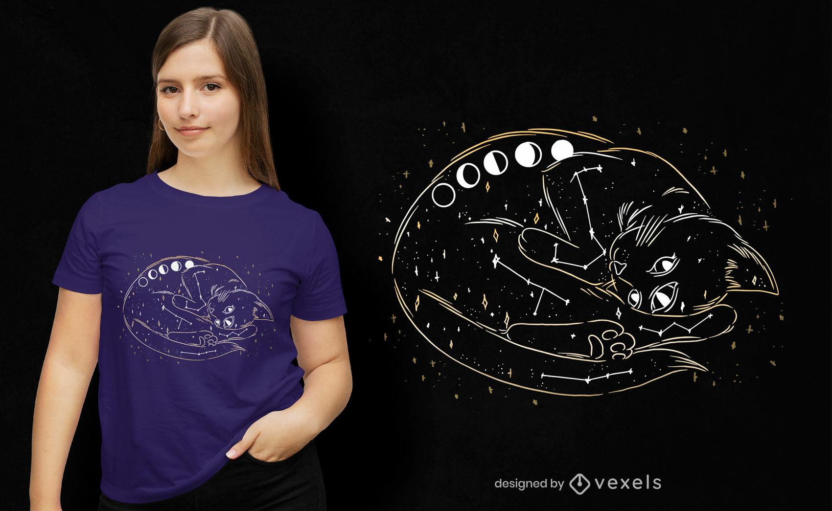 Diseño de camiseta de gato galaxia
