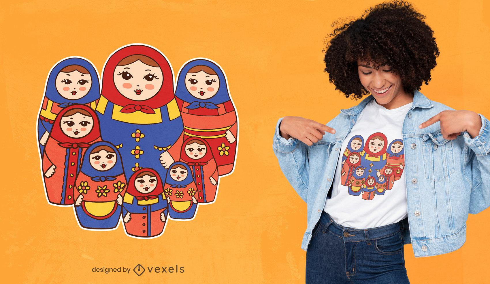 Diseño de camiseta de muñecas rusas matryoshka.