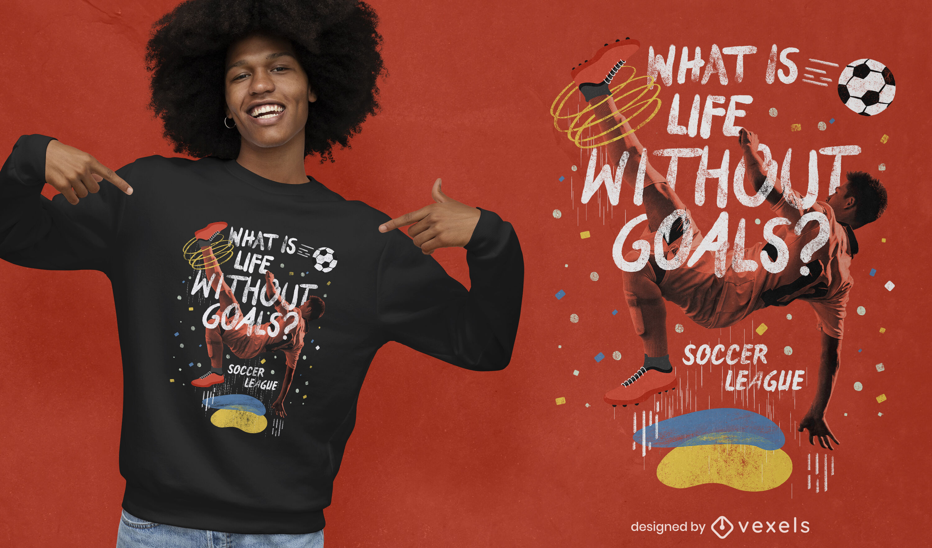 Photographic soccer collage quote psd t-shirt design