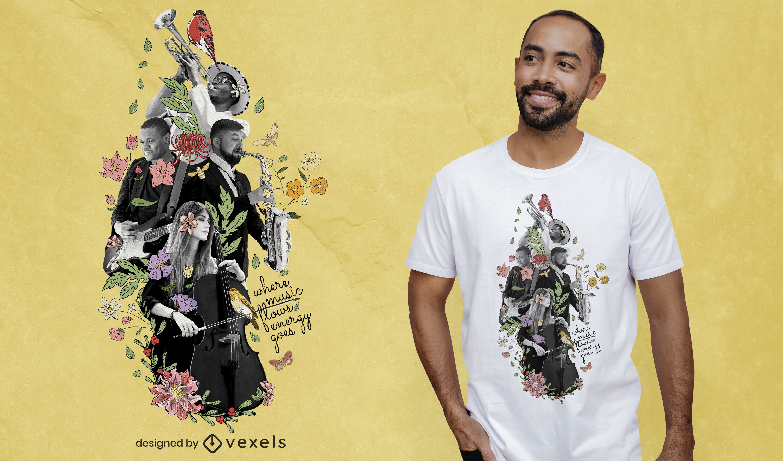 Diseño de camiseta psd de collage fotográfico de música.