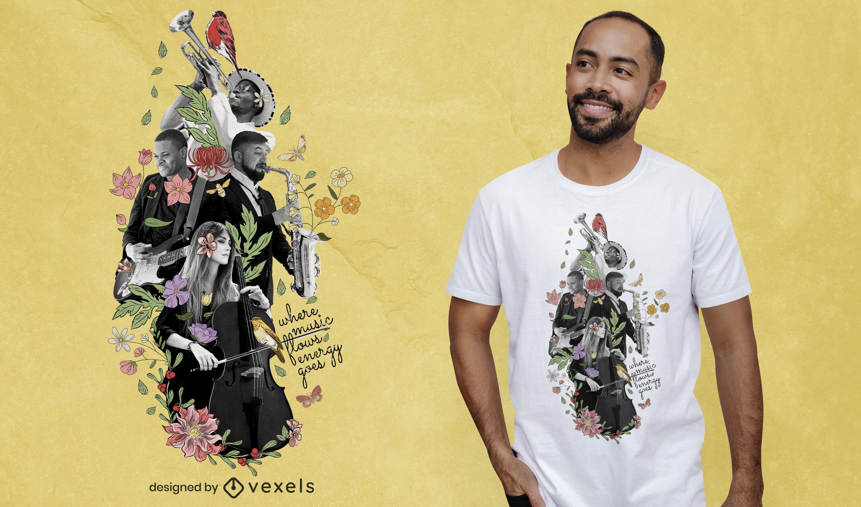 Musik Fotocollage PSD T-Shirt Design