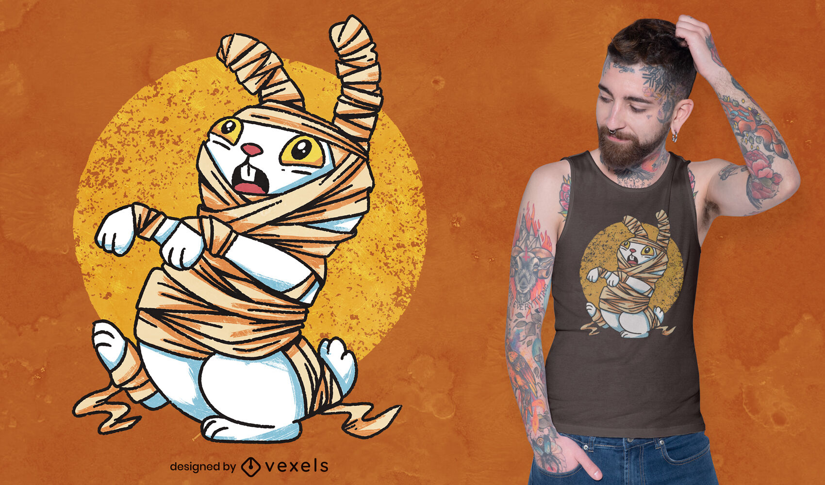 Cartoon mummy rabbit psd t-shirt design