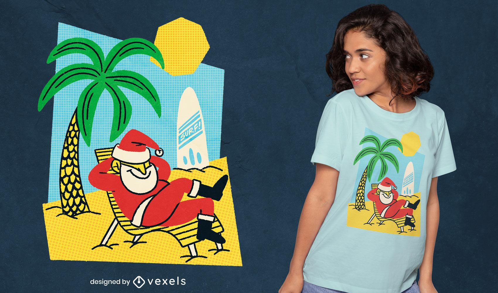 Summer santa beach camiseta navideña psd