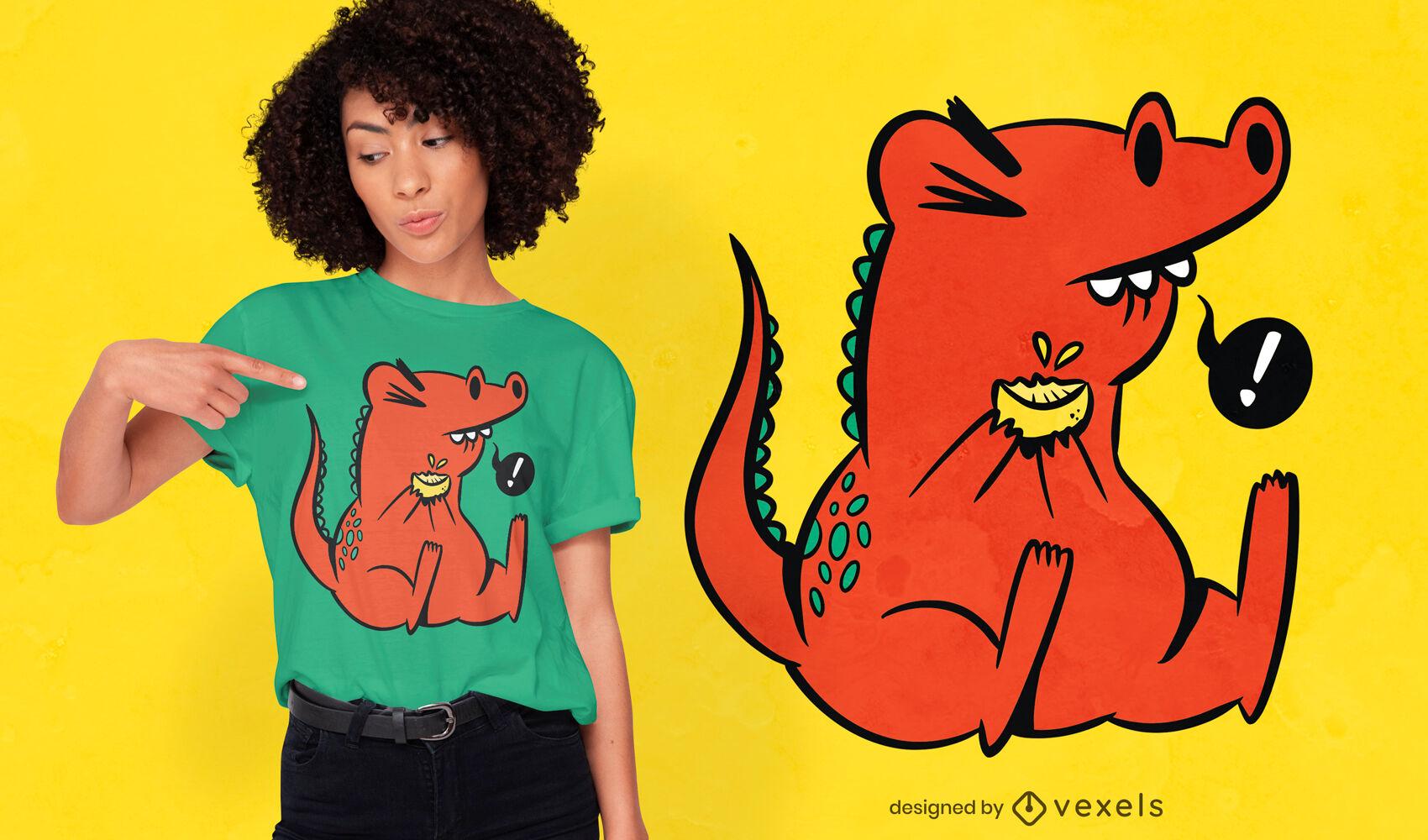 Dinosaur eating lemon cartoon t-shirt design