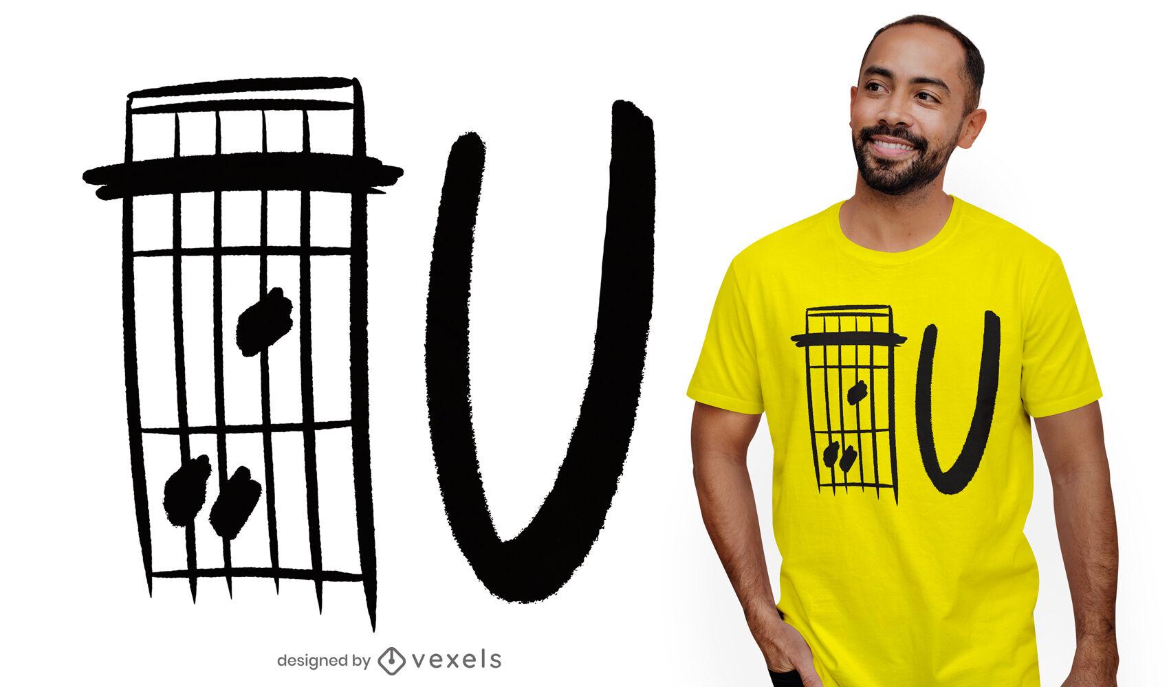 Design de t-shirt com citação de U de acorde de guitarra F