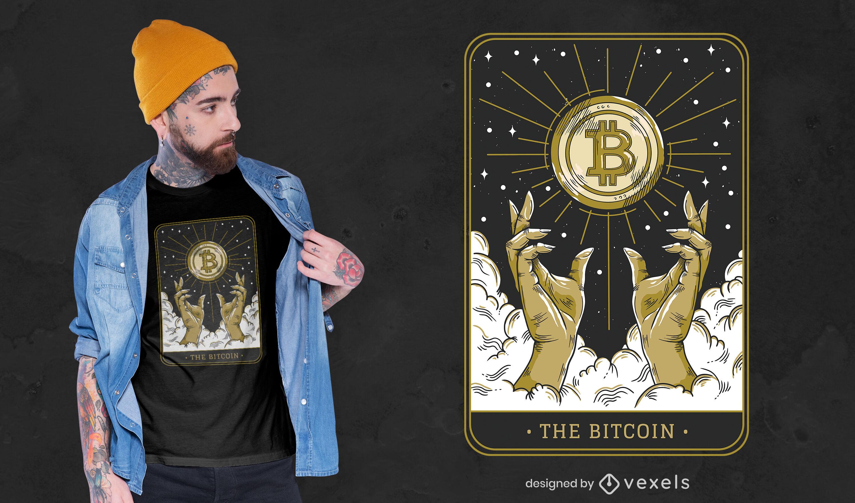 Dise?o de camiseta de la carta del tarot del s?mbolo de Bitcoin