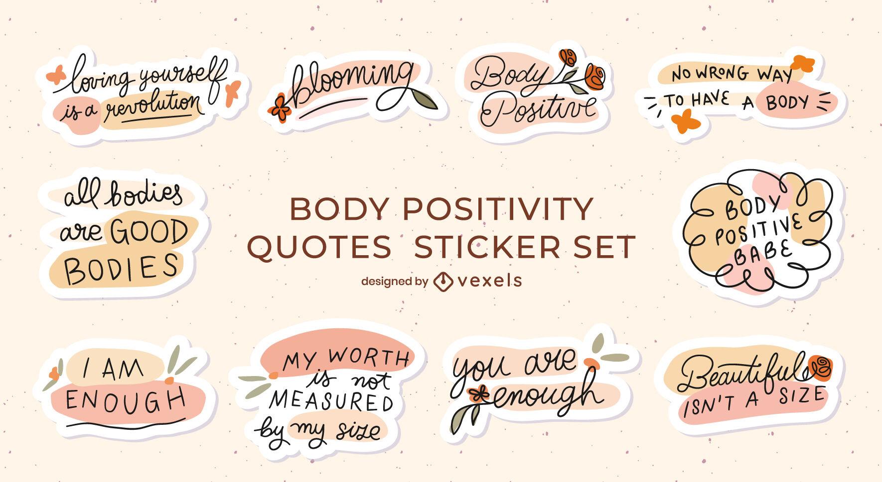 Conjunto de insignias de mensajes de movimiento de positividad corporal