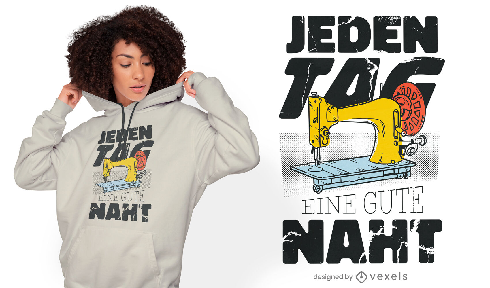 Nähmaschine mit Zitat im deutschen T-Shirt Design