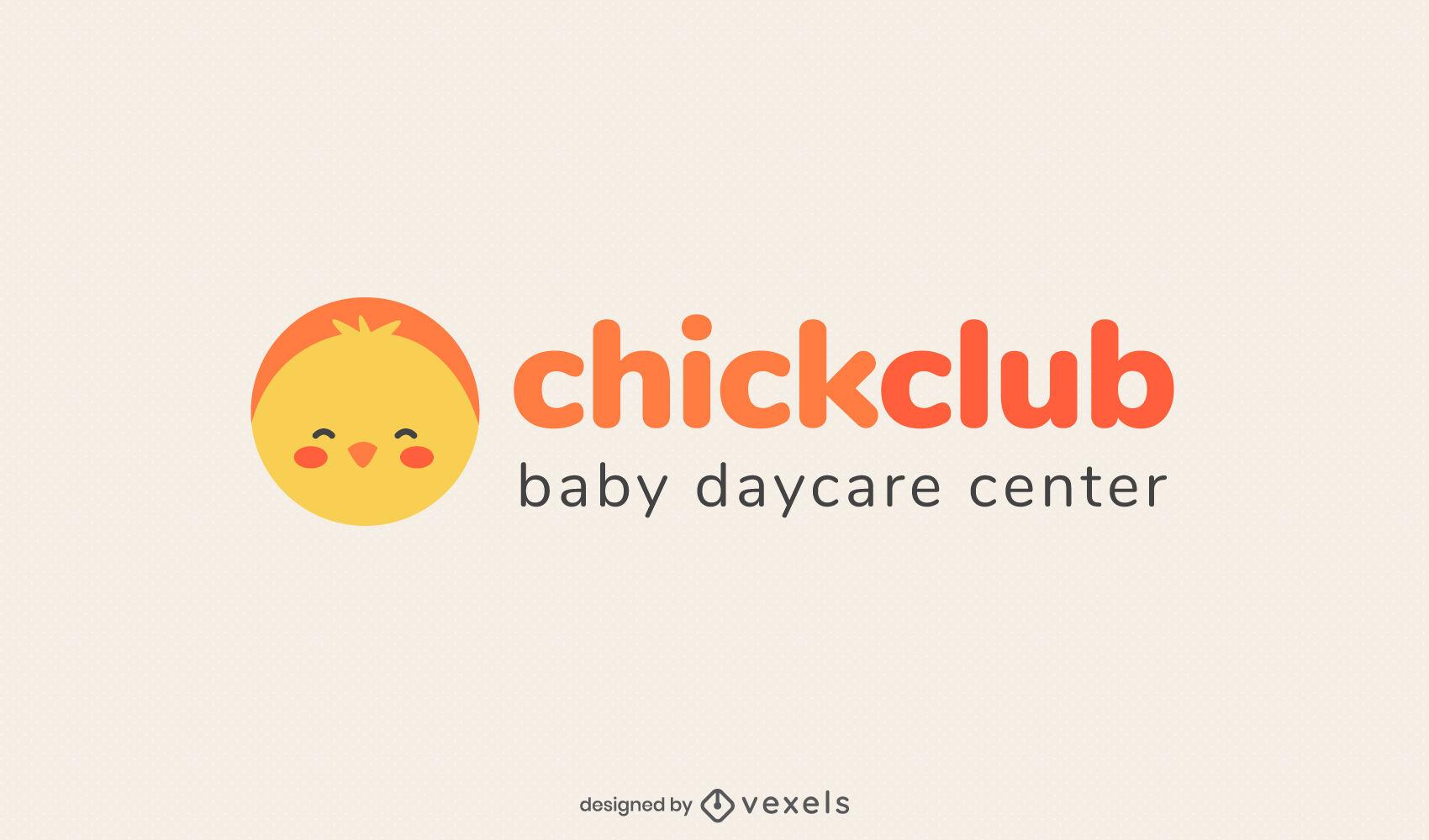 Cute chicken daycare logo