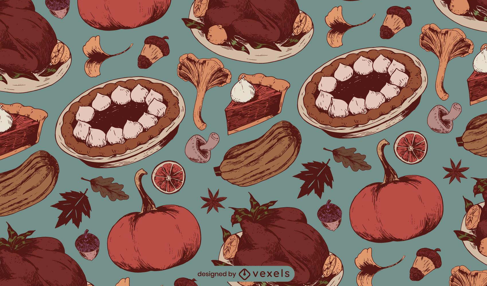 Diseño de patrón de comida navideña de acción de gracias
