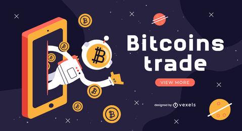 Deslizador espacial de astronauta de criptomoneda de Bitcoin