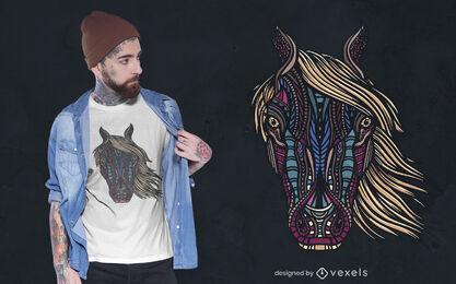 Diseño de camiseta de caballo tribal
