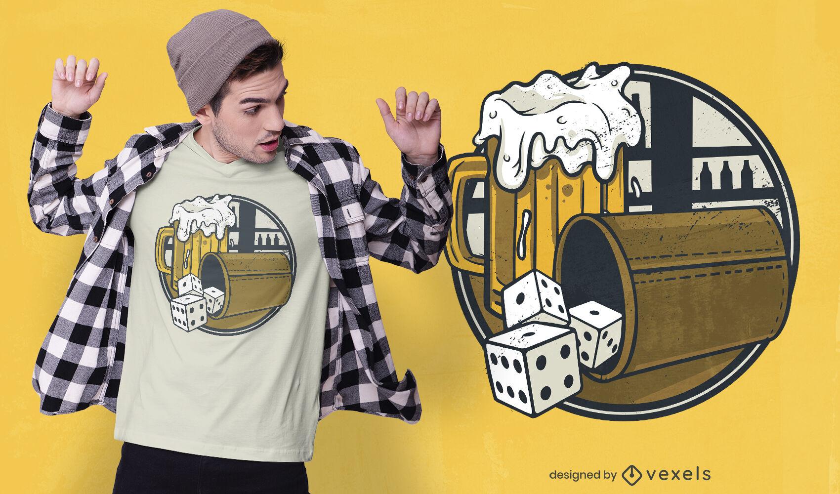 Diseño de camiseta de juegos de cerveza y dados.