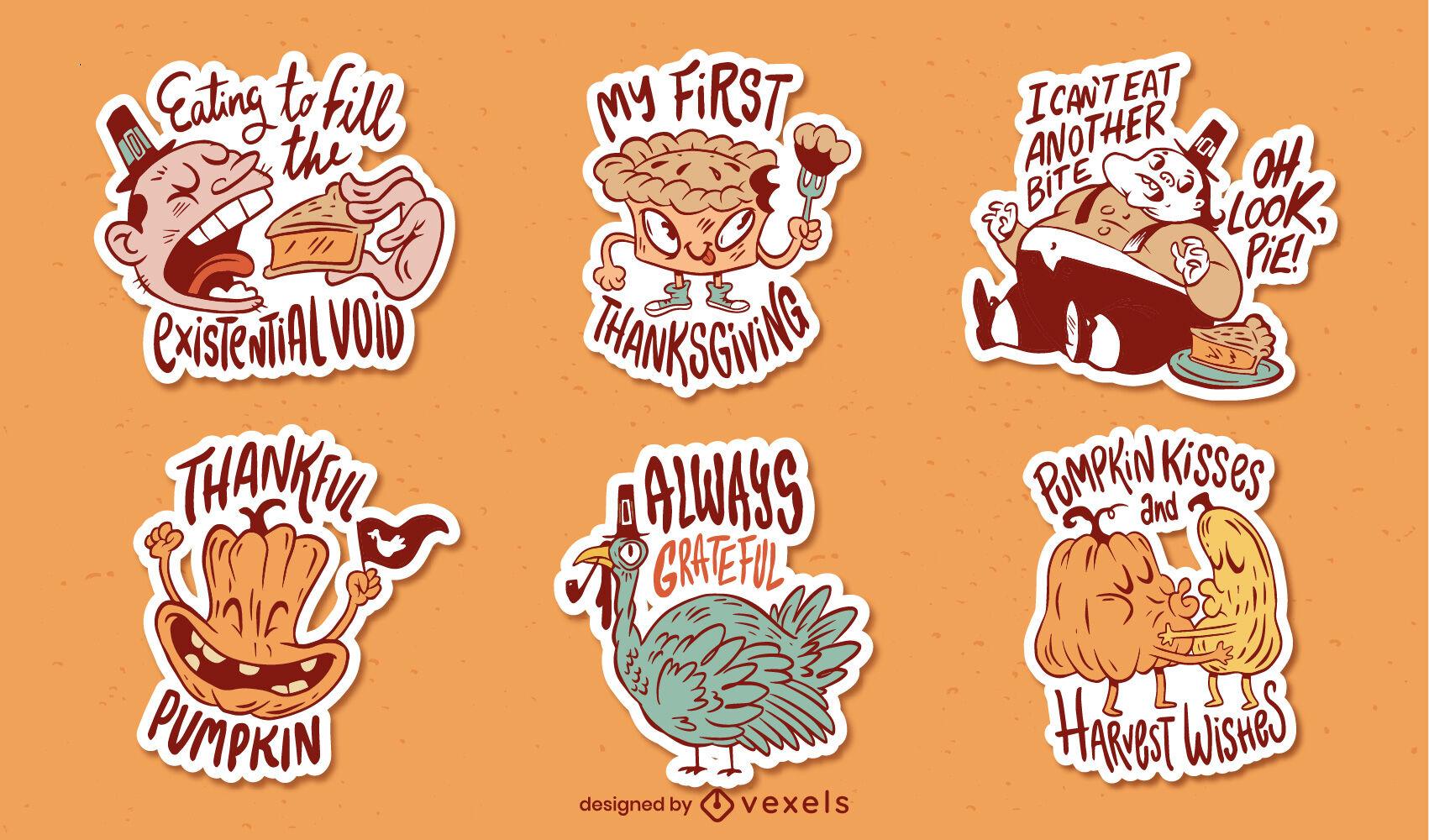 Conjunto de pegatinas de comida de dibujos animados de acción de gracias