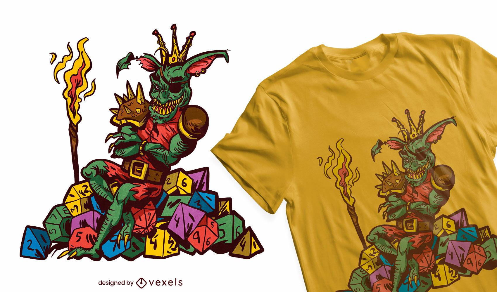 Goblin auf Würfel-T-Shirt-Design