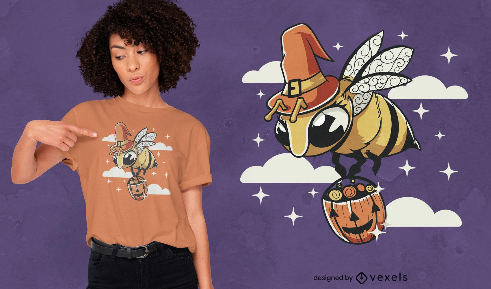 Diseño de camiseta de abeja de halloween