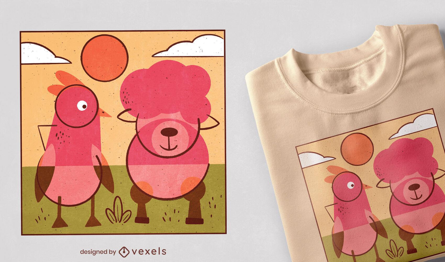 Diseño de camiseta de animales de granja.