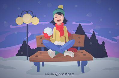 Garota de Natal com ilustração de neve