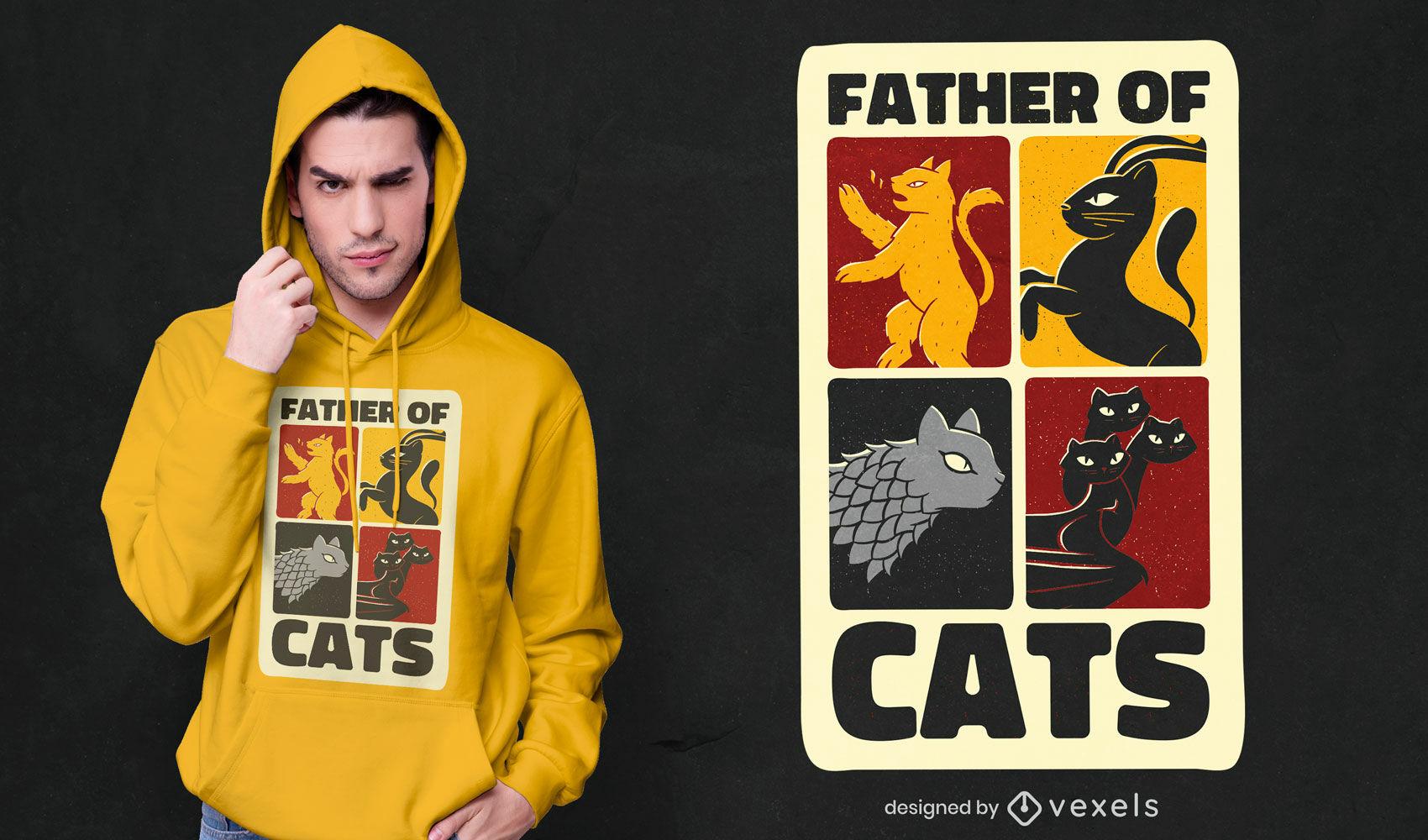 Diseño de camiseta de padre de gatos.