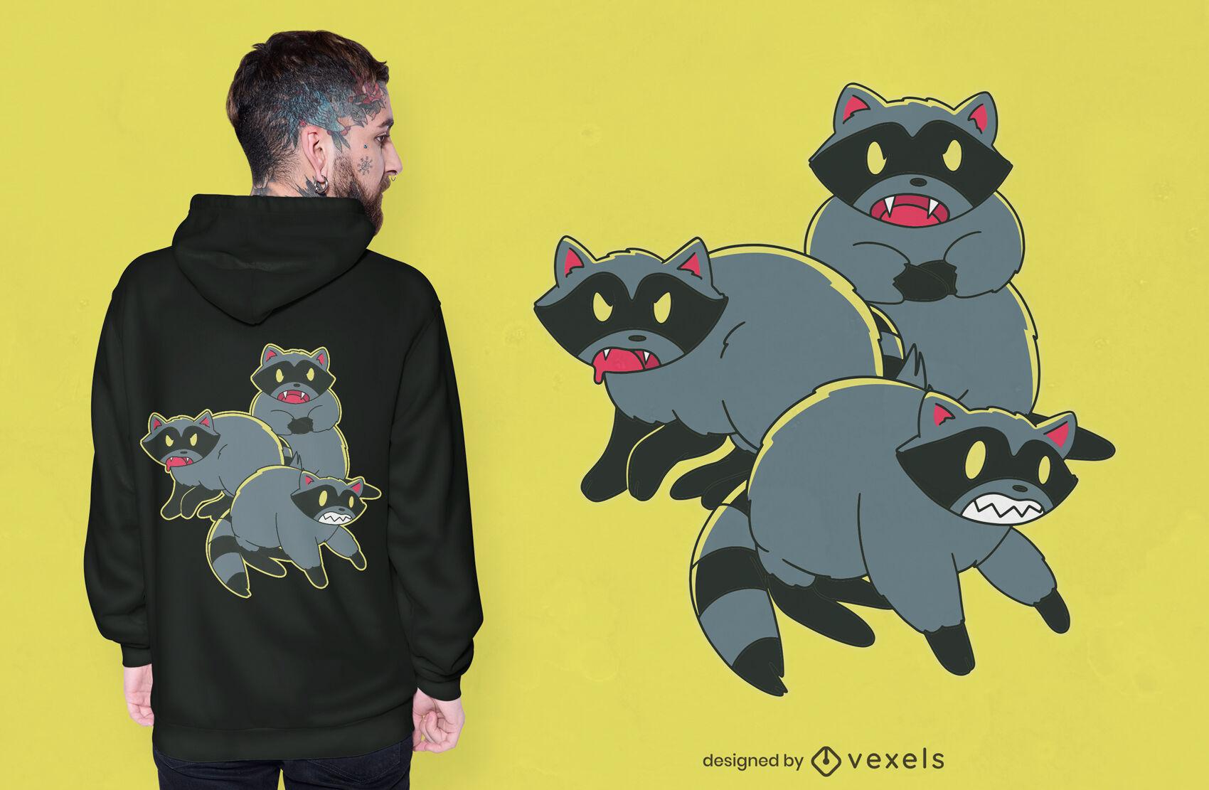Diseño de camiseta de dibujos animados de mapaches rabiosos.