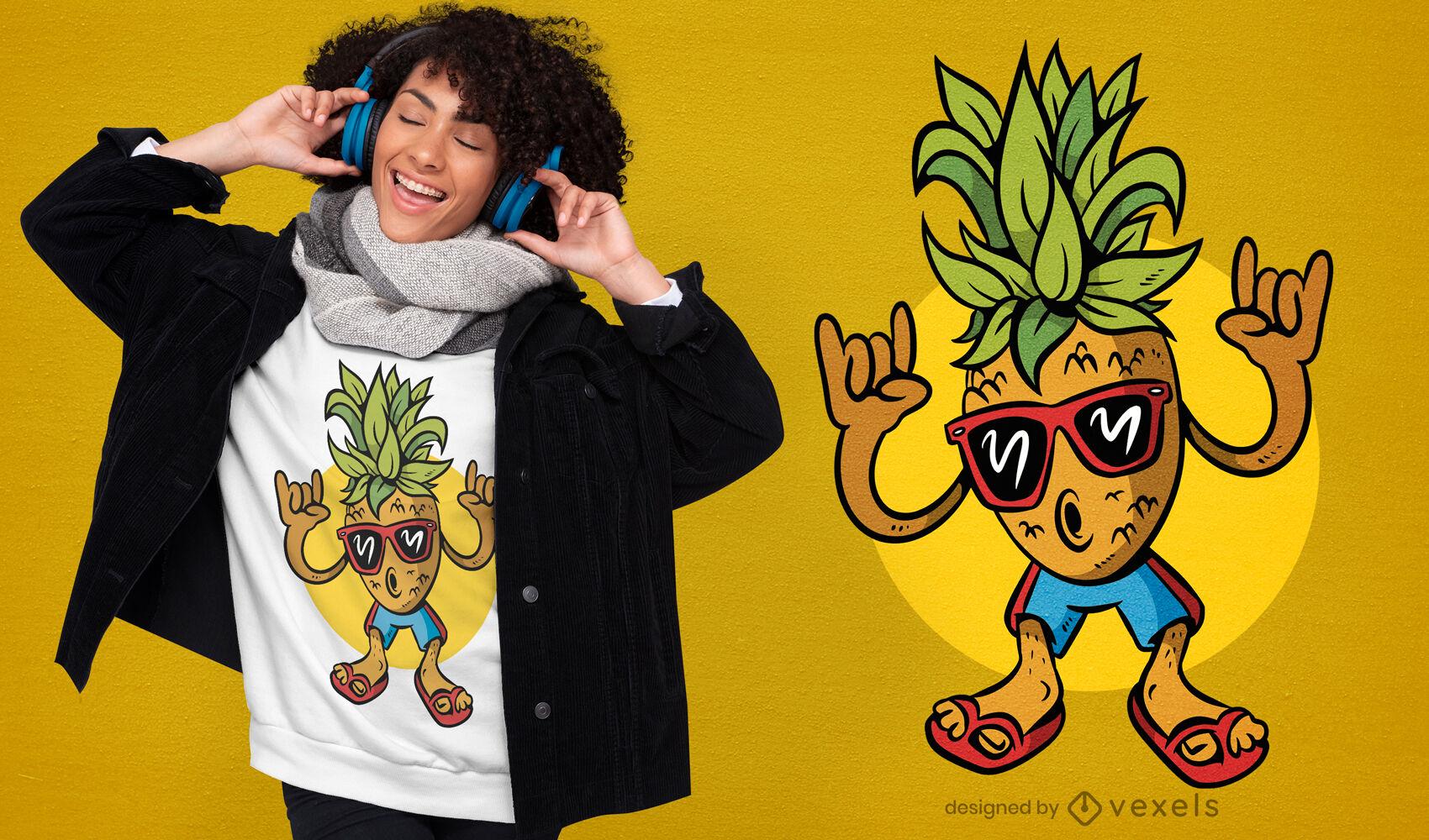 Diseño de camiseta de piña fresca de dibujos animados