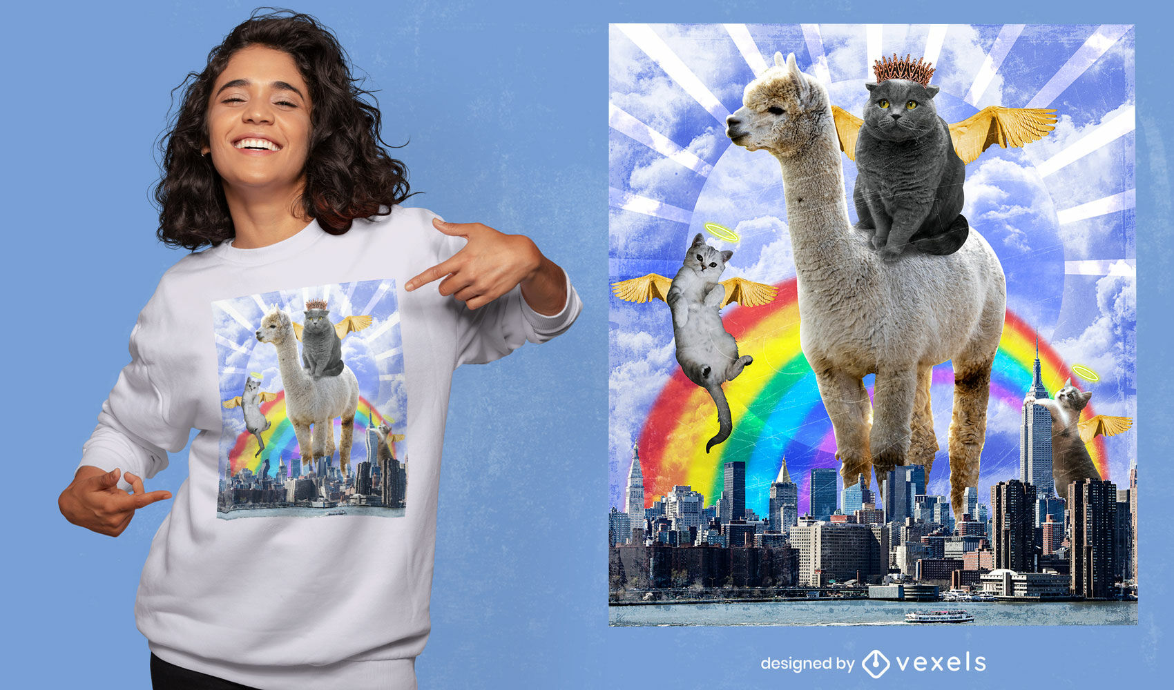 Angel cats surreal collage psd t-shirt design