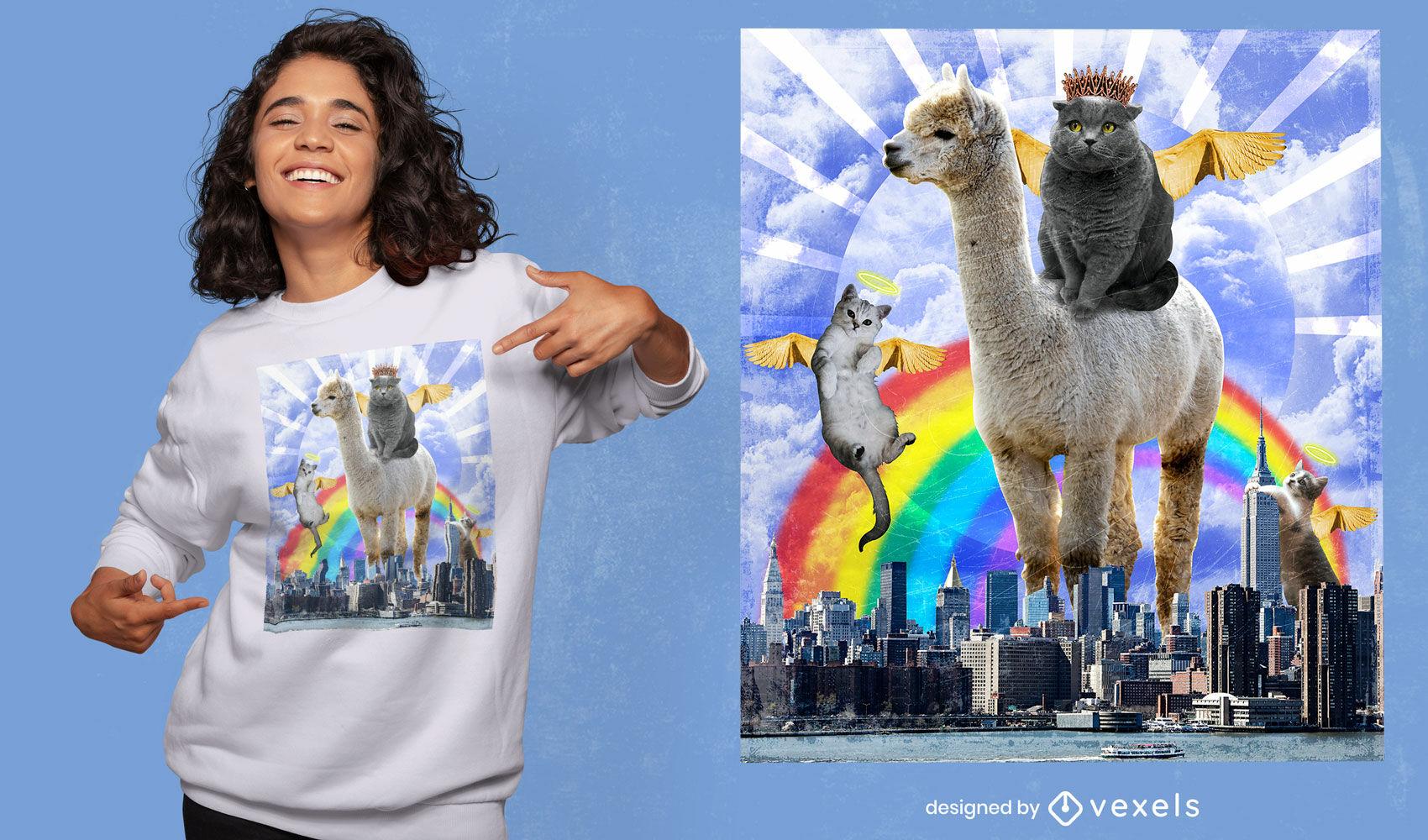 Diseño de camiseta psd de collage surrealista de gatos de ángel