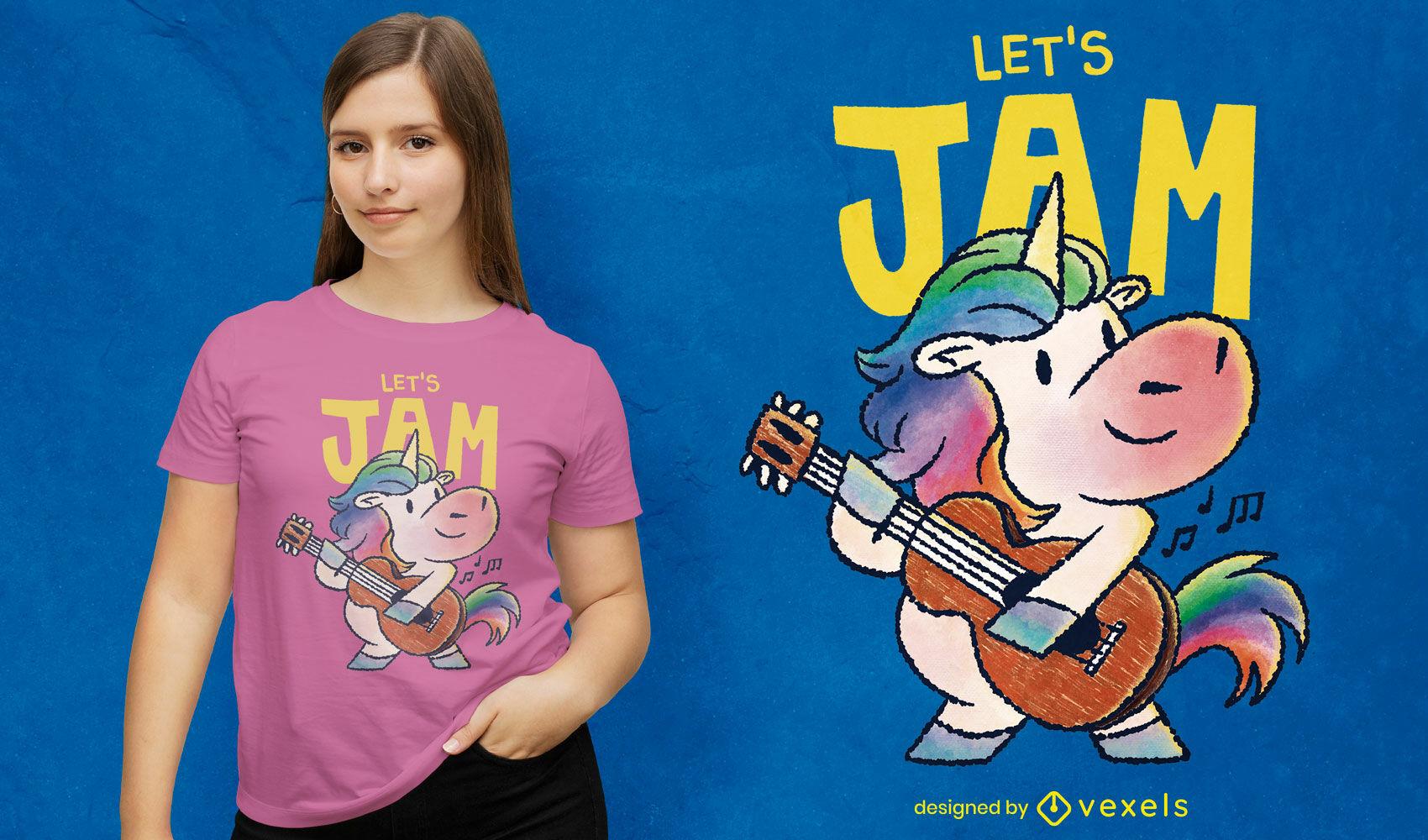Doodle de diseño de camiseta de guitarrista unicornio psd