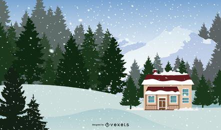 Cartão de Natal em um dia de neve