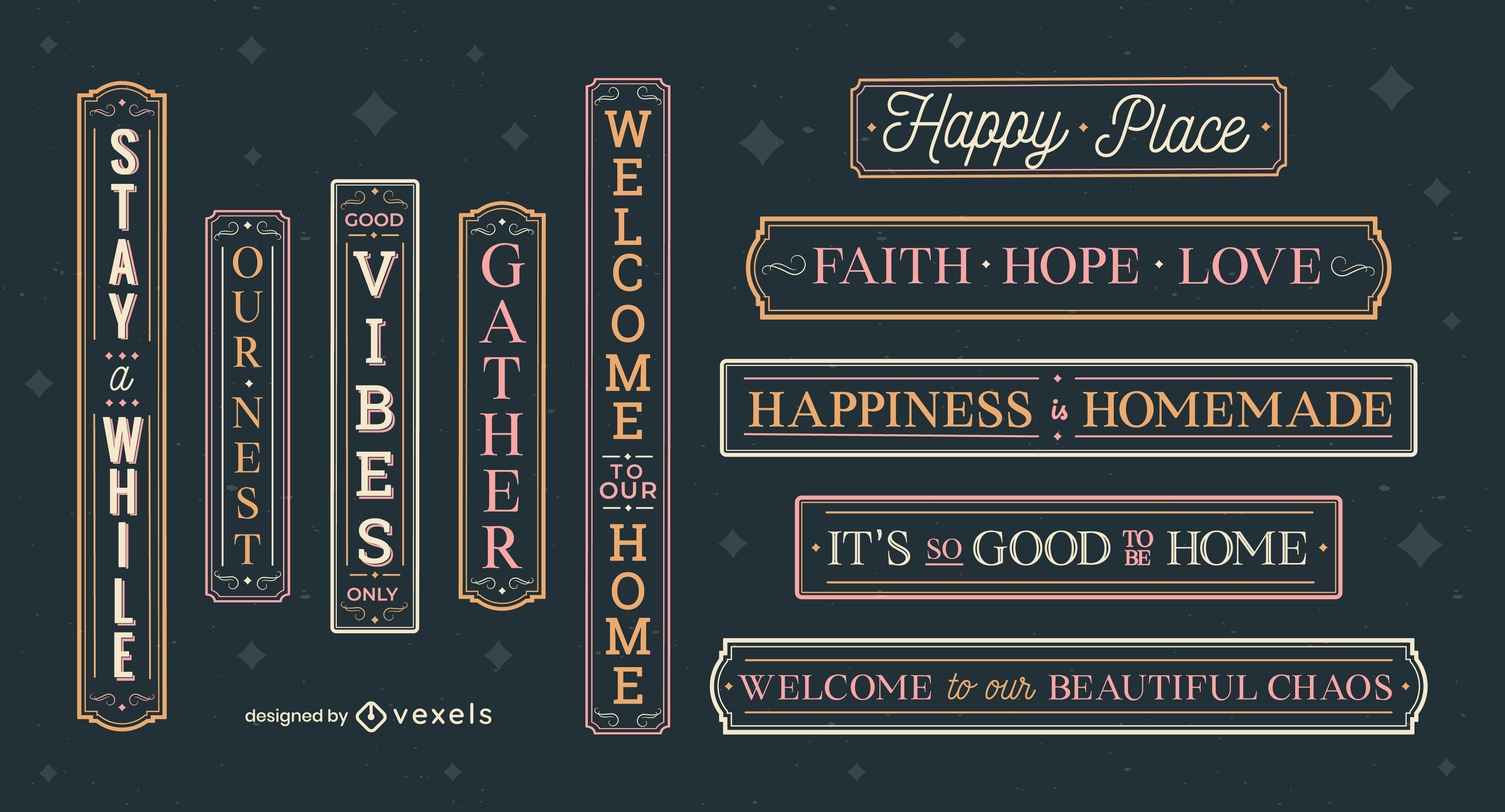 Conjunto de etiquetas de letras com citações de casas felizes