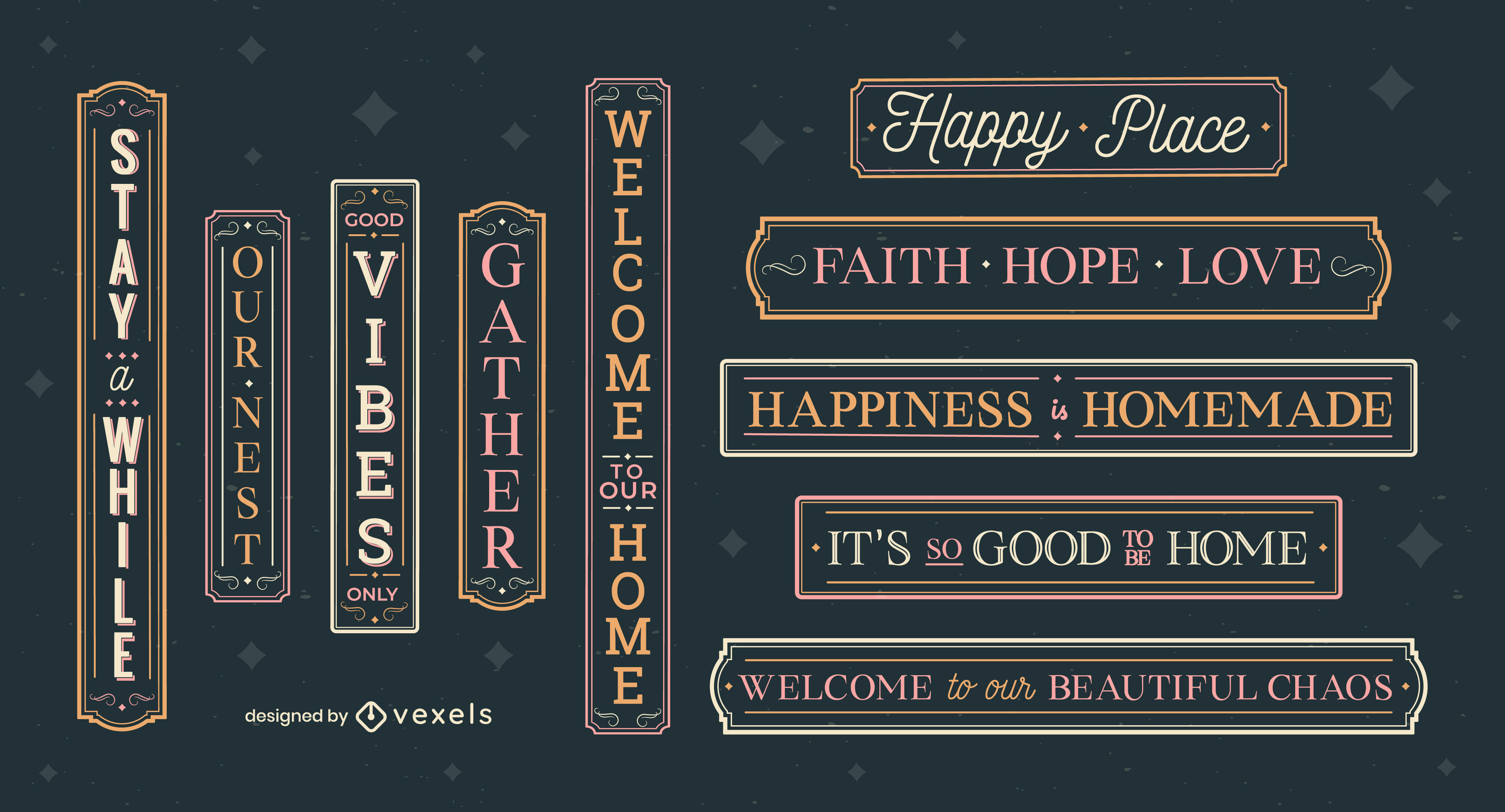 Happy home quotes lettering label set