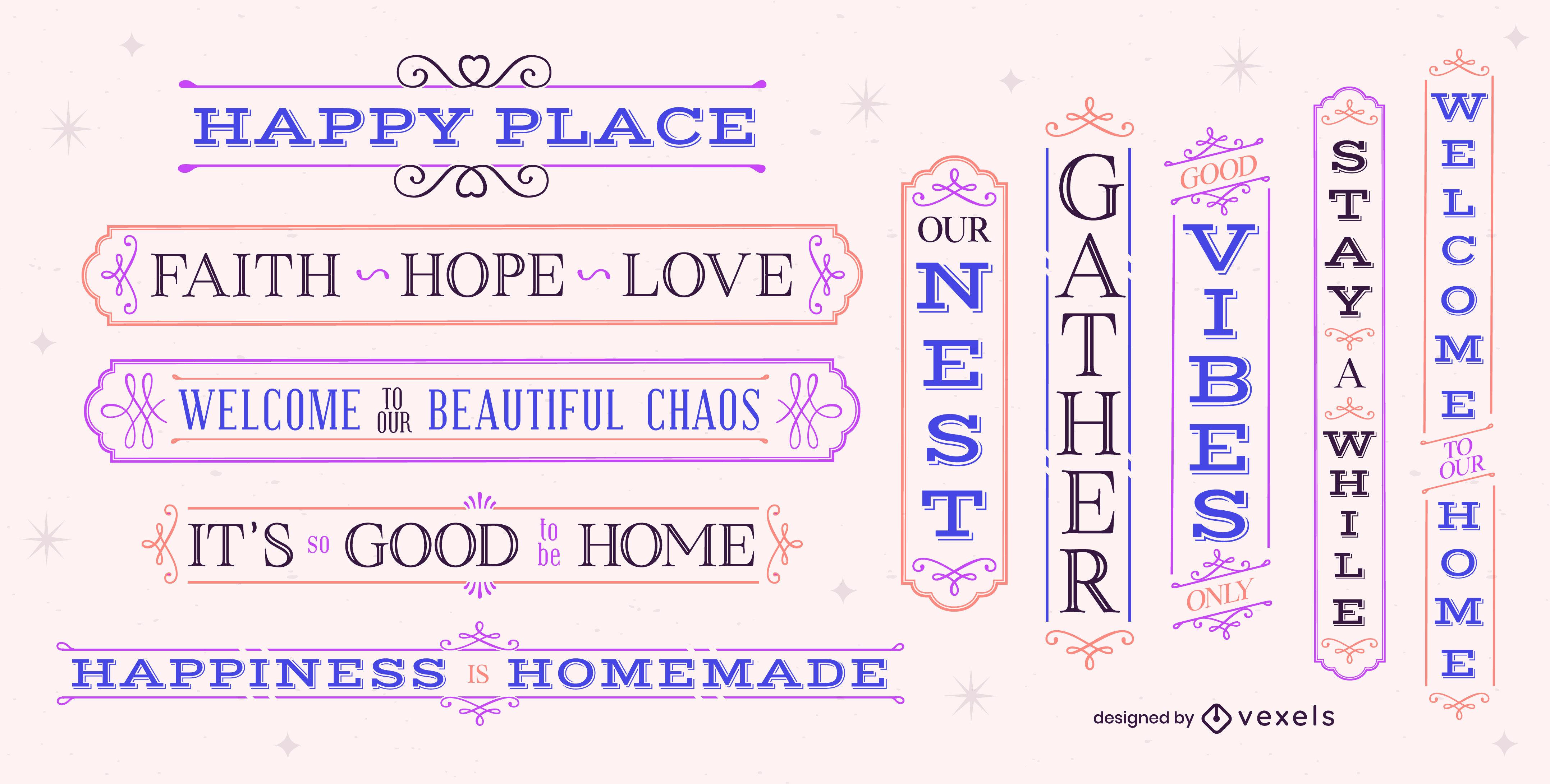 Conjunto de etiquetas de letras de casa de familia feliz