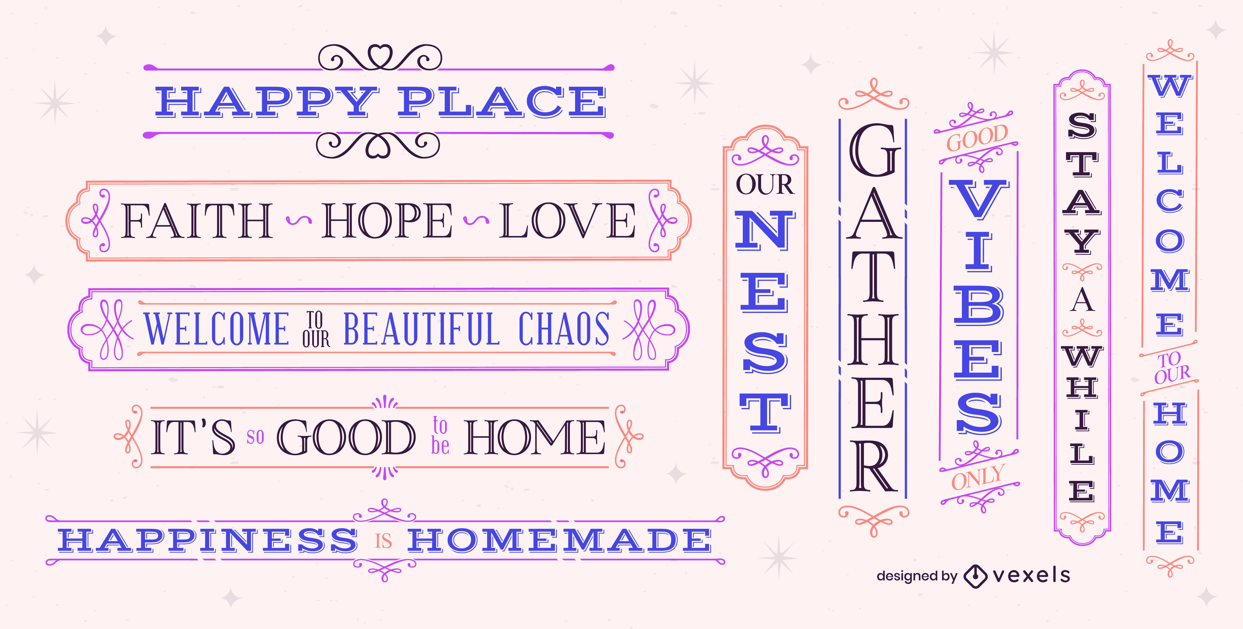 Happy family home lettering label set