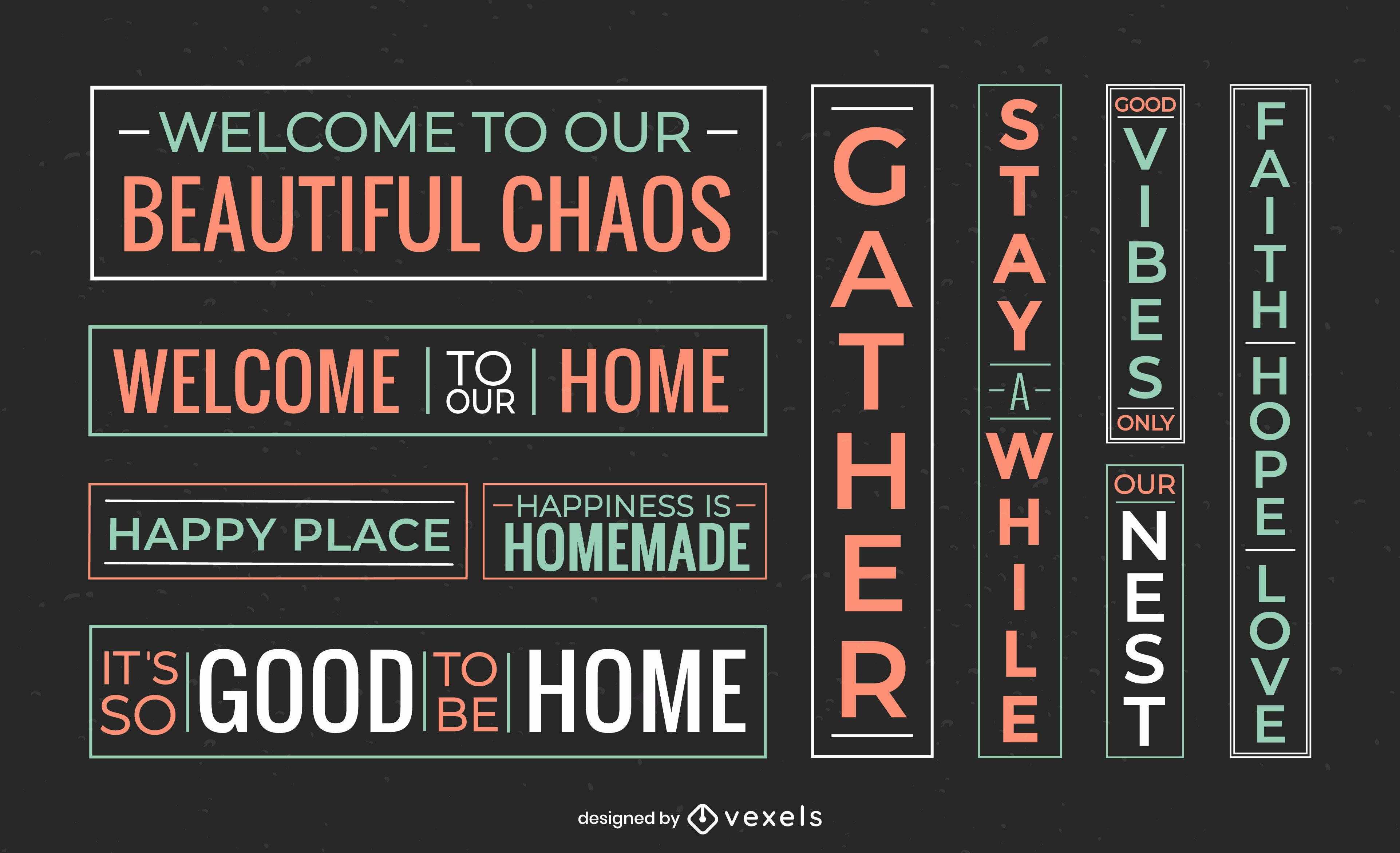 Happy family home quotes label set