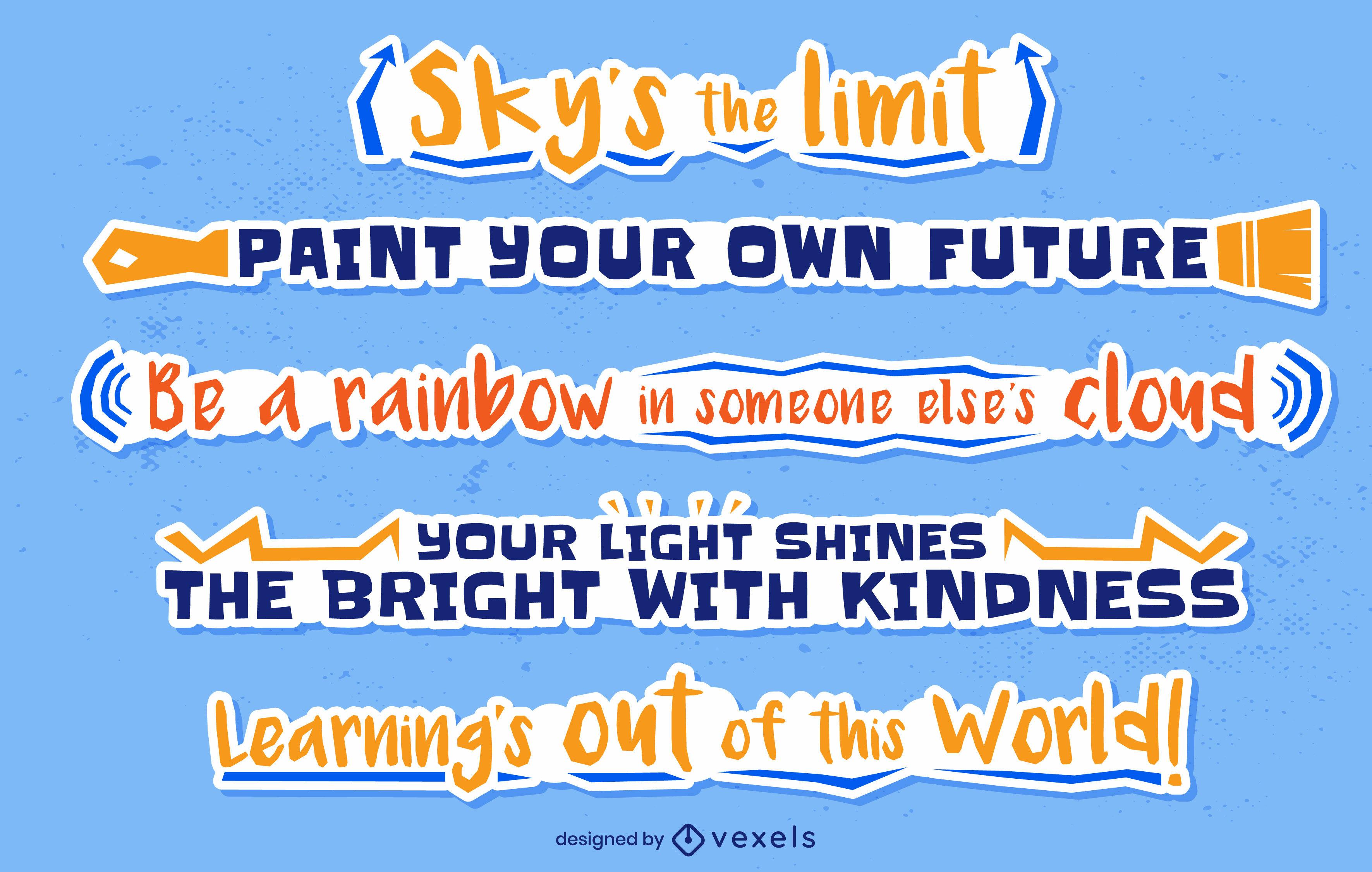 School quotes lettering set