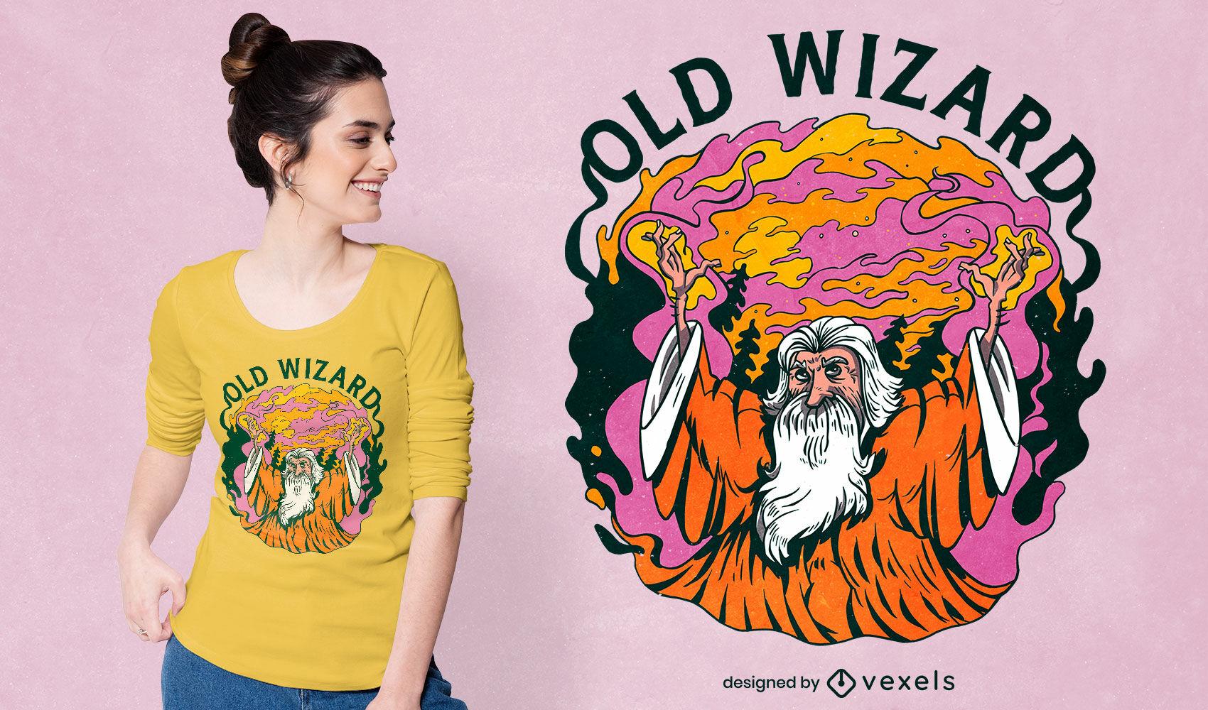 Old wizard magic character t-shirt design