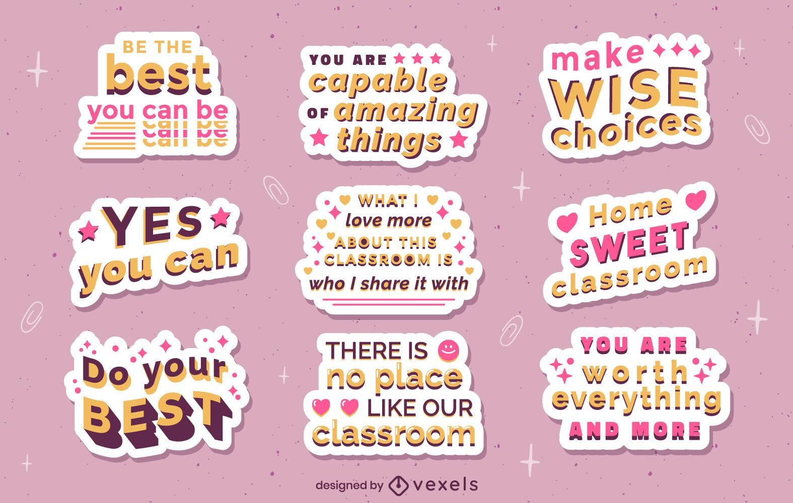 Conjunto de pegatinas de citas motivacionales de la escuela